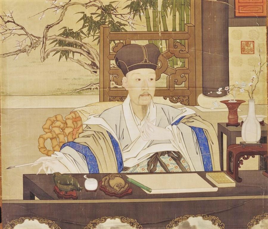 Emperor Qianlong writing (《乾隆帝写字像》), The Palace Museum. (Internet)