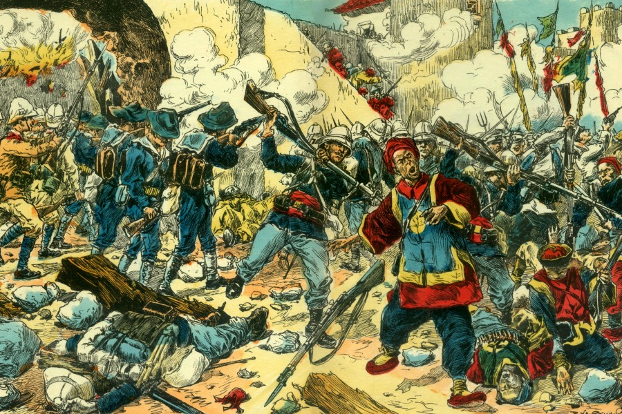 A colour supplement of Le Petit Journal from 1900 shows the Allied troops attacking Beijing.