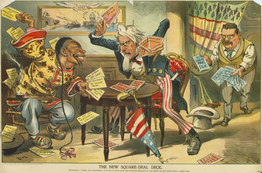 "In 1904, The Judge magazine ran this cartoon titled The New Square-Deal Deck, with Theodore Roosevelt saying, ""Come, now, gentlemen; it is time to throw aside that worn-out deck and try one which will give both of you a square deal."" The Chinese Exclusion Act of 1882 was repeatedly extended, sparking anger from the Chinese government and overseas Chinese. In the picture, a Chinese and Uncle Sam take turns to play their political cards, neither side willing to give in."