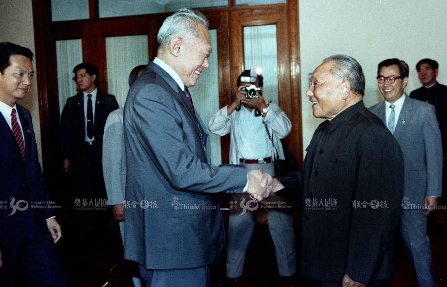 In 1988, Lee Kuan Yew met 84-year-old Chinese paramount leader Deng Xiaoping at the Fujian Room of the Great Hall of the People. This was Lee's last meeting with Deng. (SPH)
