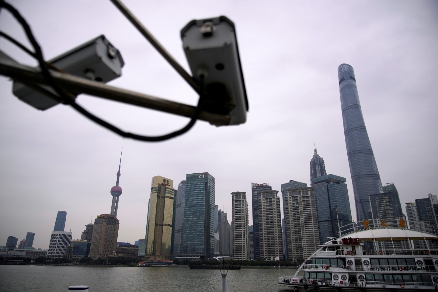 The East and the West have divergent reactions to the topic of state surveillance. In this photo taken on 15 January 2020, surveillance cameras are seen at Lujiazui financial district of Pudong, Shanghai. (Aly Song/Reuters)