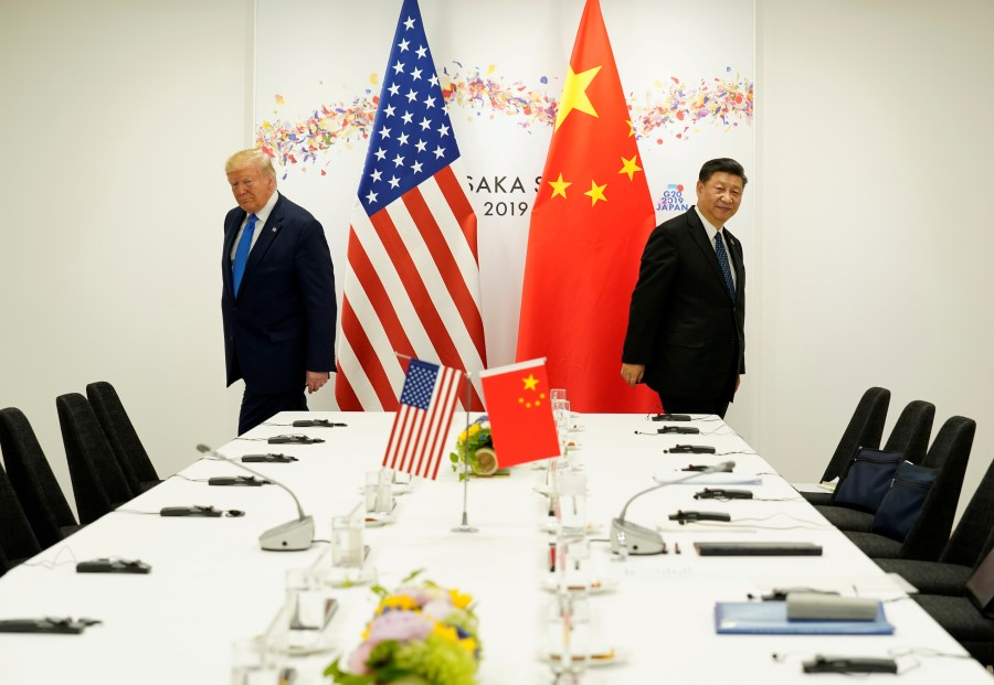 US President Donald Trump attends a bilateral meeting with China's President Xi Jinping during the G20 leaders summit in Osaka, Japan, 29 June 2019. (Kevin Lamarque/REUTERS)