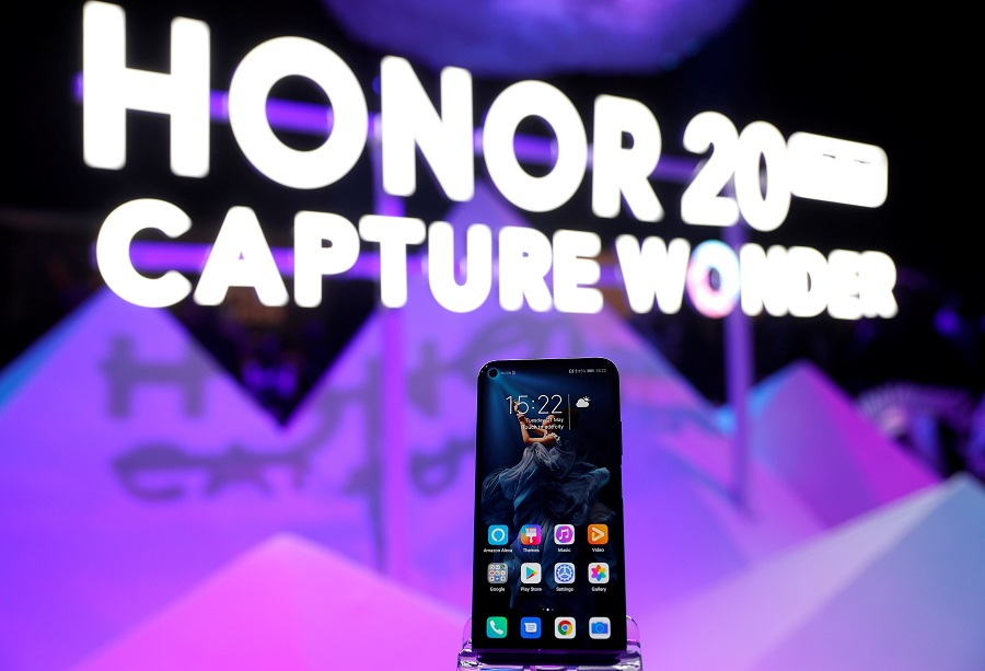 Huawei's new Honor 20 smartphone is seen at a product launch event in London, Britain, on 21 May 2019. (Peter Nicholls/File Photo/Reuters)