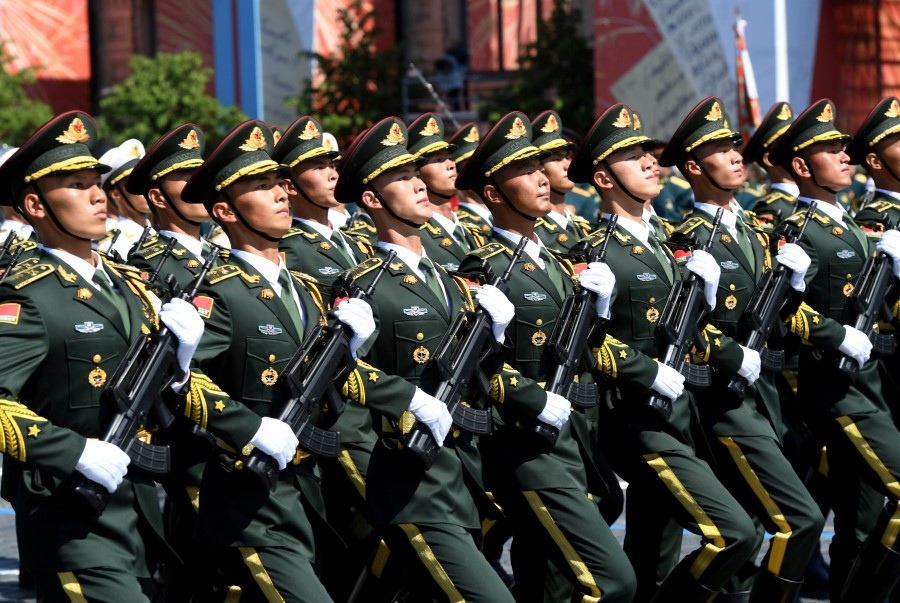 Soldiers of China's People's Liberation Army march during the Victory Day Parade in Red Square in Moscow, Russia, 24 June 2020, marking the 75th anniversary of the victory over Nazi Germany in World War Two. (Sergey Pyatakov via REUTERS)