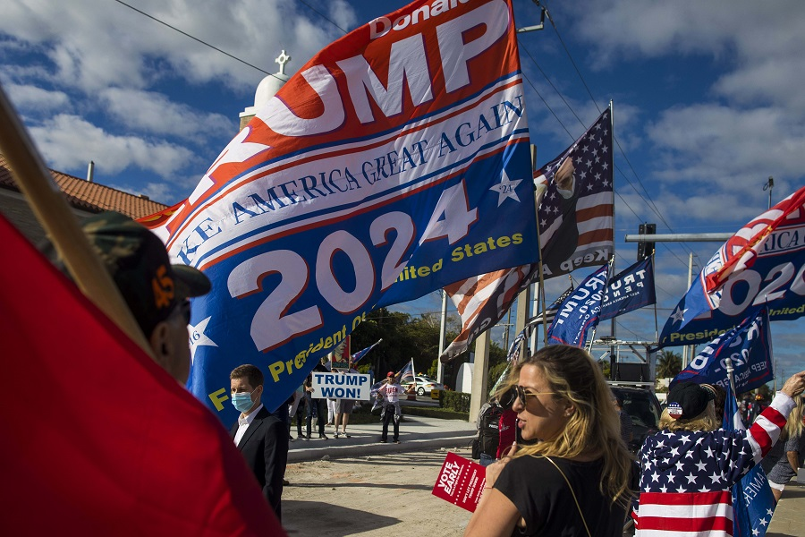 Supporters of former US President Donald Trump hold flags and signs near Mar-a-Lago in Palm Beach, Florida, US, on 20 January 2021. (Saul Martinez/Bloomberg)