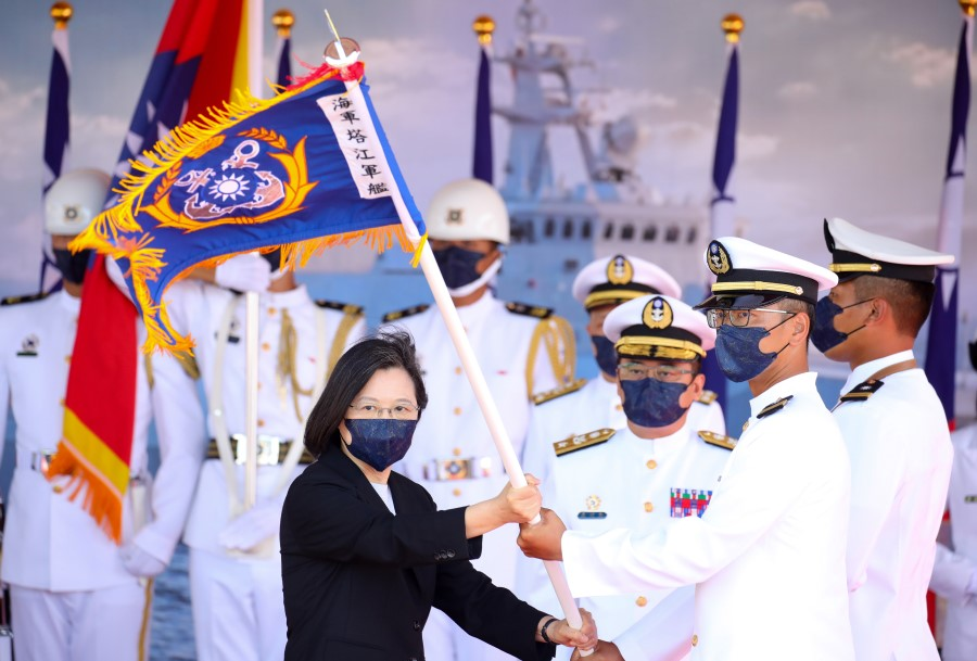 Tsai Ing-wen, Taiwan's president, attends a commissioning ceremony for a new Ta Chiang guided-missile corvette in Suao, Yilan County, Taiwan, on 9 September 2021. (I-Hwa Cheng/Bloomberg)