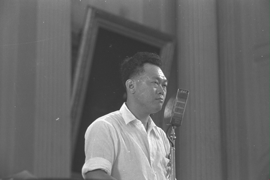 Mr Lee Kuan Yew speaking at the People's Action Party's annual conference at the Victoria Memorial Hall, 26 June 1955. (SPH)