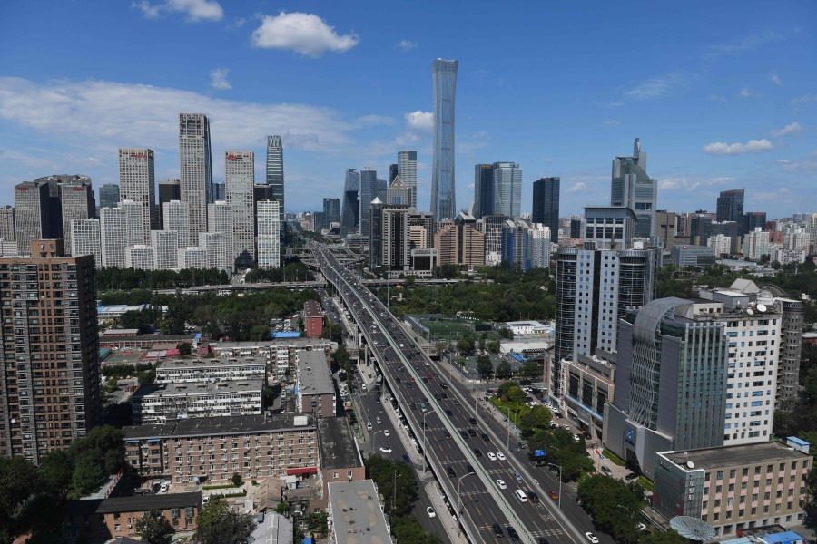 Buildings are seen in the central business district of Beijing on 3 September 2020. (Greg Baker/AFP)