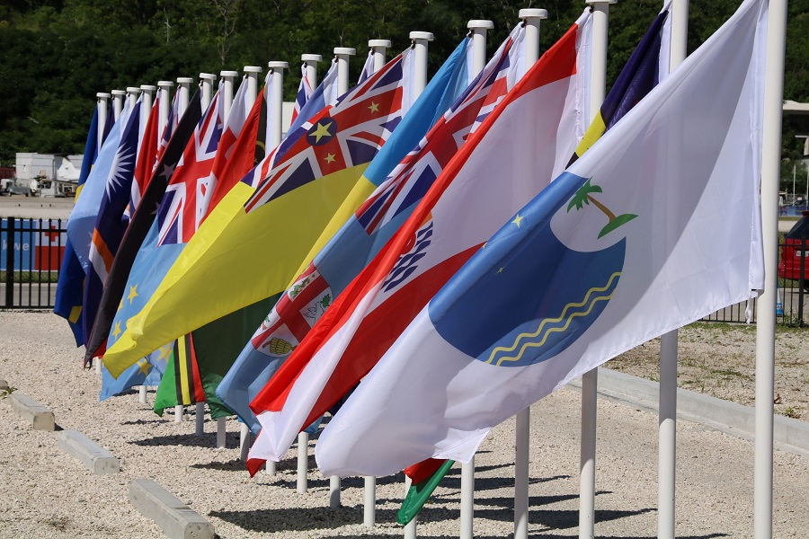 This file picture taken on 5 September 2018 shows flags from the Pacific Islands countries being displayed in Yaren on the last day of the Pacific Islands Forum (PIF). (Mike Leyral/AFP)