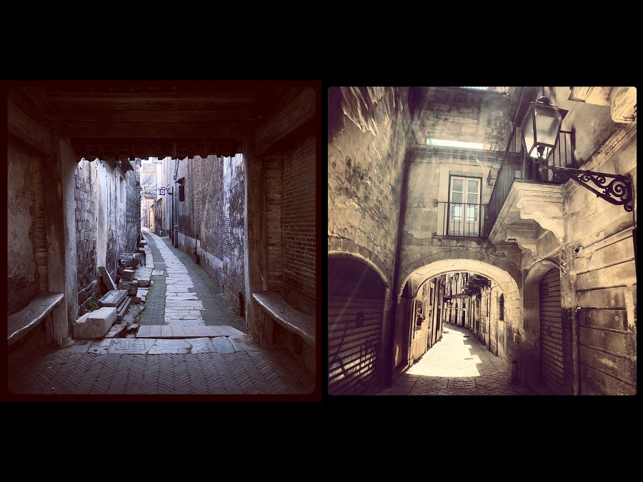 Xishan, Jiangsu in China (left) and Modica, Sicily in Italy (right).