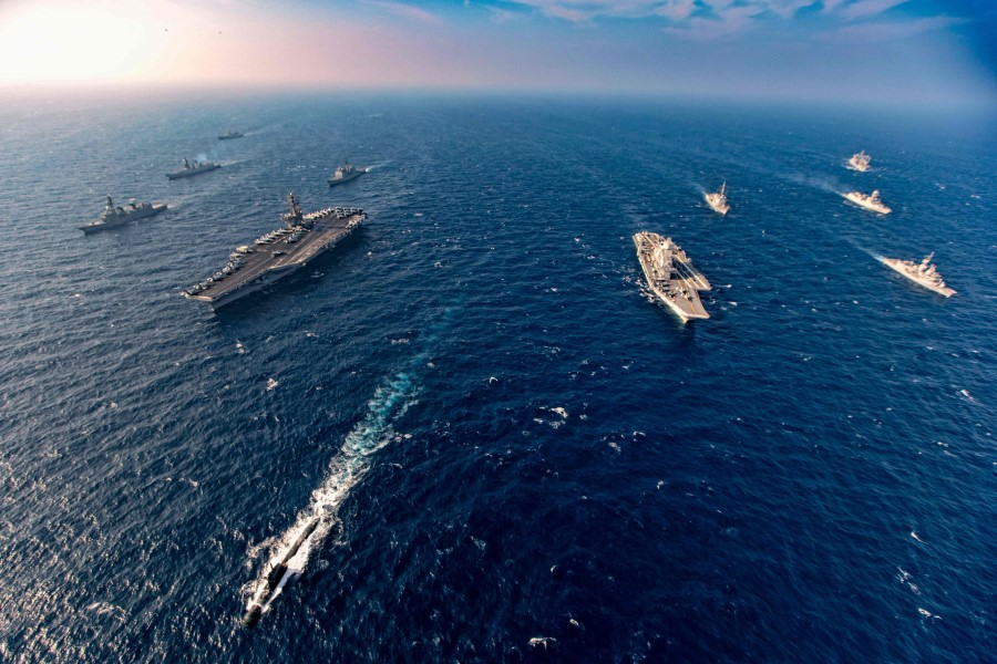 This handout photo taken and released by the Indian Navy on 17 November 2020 shows ships taking part in the second phase of the Malabar naval exercise in the Arabian sea. India, Australia, Japan and the United States started the second phase of a strategic navy drill in the Northern Arabian sea. (Indian Navy/AFP)