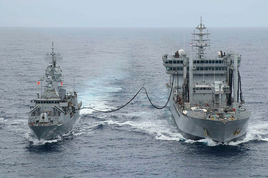 This handout photo taken and released by the Indian Navy on 18 November 2020 shows ships taking part in the second phase of the Malabar naval exercise in the Arabian sea. India, Australia, Japan and the US started the second phase of a strategic navy drill on 17 November in the Northern Arabian sea. (Indian Navy/AFP)