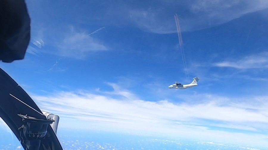 This handout photo from the Royal Malaysian Air Force taken on 31 May 2021 and released on 1 June shows a Chinese People's Liberation Army Air Force (PLAAF) Ilyushin Il-76 aircraft that Malaysian authorities said was in the airspace over Malaysia's maritime zone near the coast of Sarawak state on Borneo island. (Handout/Royal Malaysian Air Force/AFP)