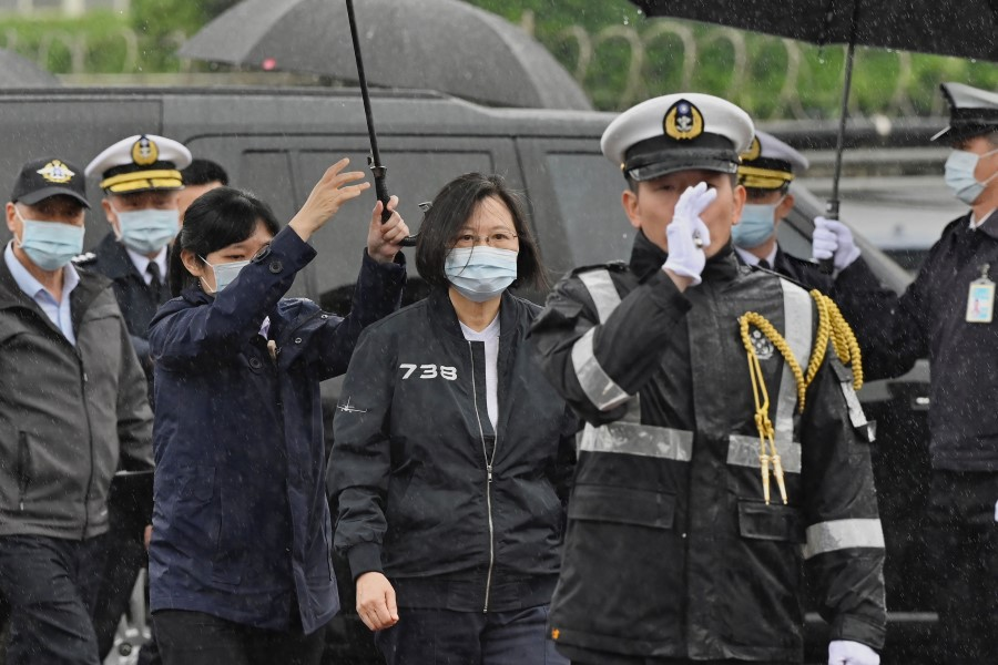 Taiwan President Tsai Ing-wen (centre) attends the inspection of a Republic of China Navy fleet in Keelung on 8 March 2021. (Sam Yeh/AFP)