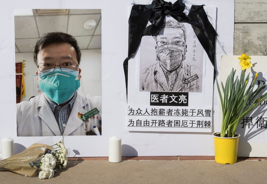 A memorial for Dr Li Wenliang is pictured outside the UCLA campus in Westwood, California, on 15 February 2020. (Mark Ralston/AFP)