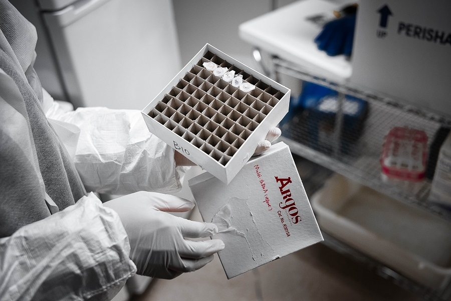 A Mirimus Inc lab scientist holds Covid-19 samples from recovered patients on 10 April 2020 in the Brooklyn borough of New York City. (Misha Friedman/Getty Images/AFP)