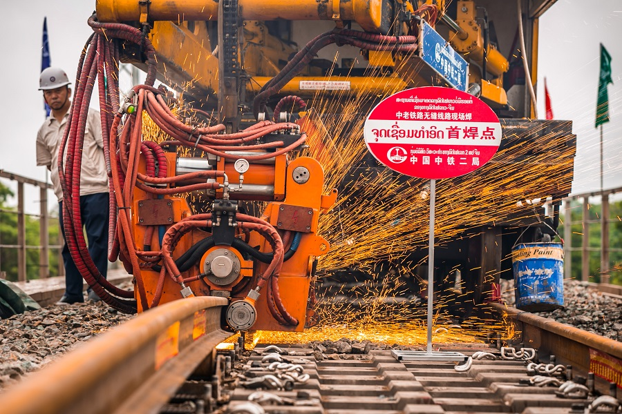 In this photo taken on 18 June 2020, welding works can be seen at the China-Laos Railway construction site. (Kai Qiao/Xinhua)