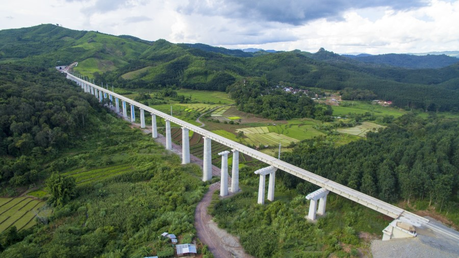 A stretch of the 400-kilometre long China-Laos railway in Vientiane, 29 July 2020. (Xinhua)