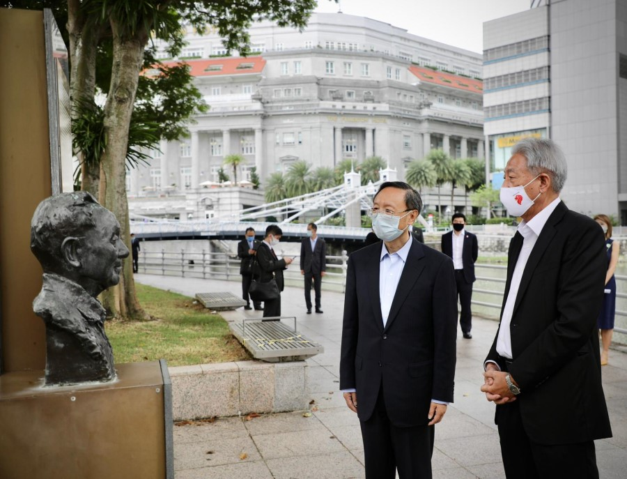 20 August 2020: Yang (left) visited the Deng Xiaoping Marker at ACM Green, which commemorates Deng's landmark visit to Singapore in 1978 and his contributions to the friendship between Singapore and China. (SPH)