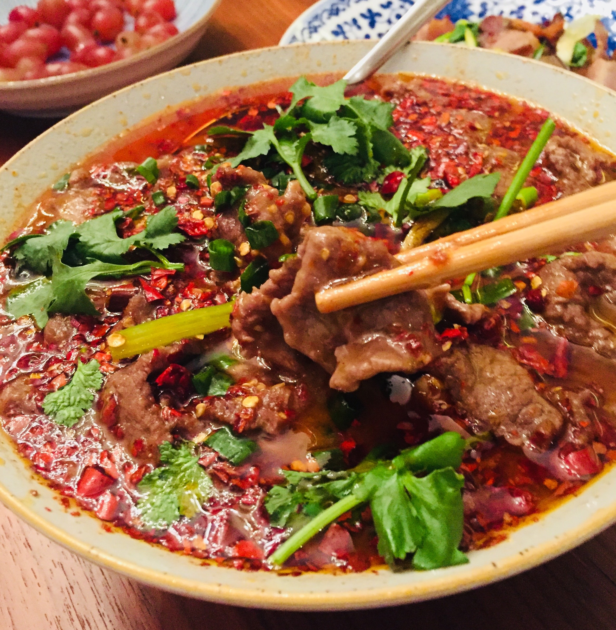 Mala ooh-la-la! Classic Zigong (自贡) dish, boiled beef slices (水煮牛肉).