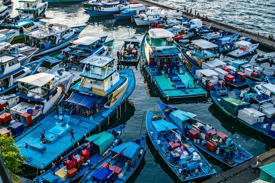 Small cargo boats docked by Male harbour, Maldives. (iStock)