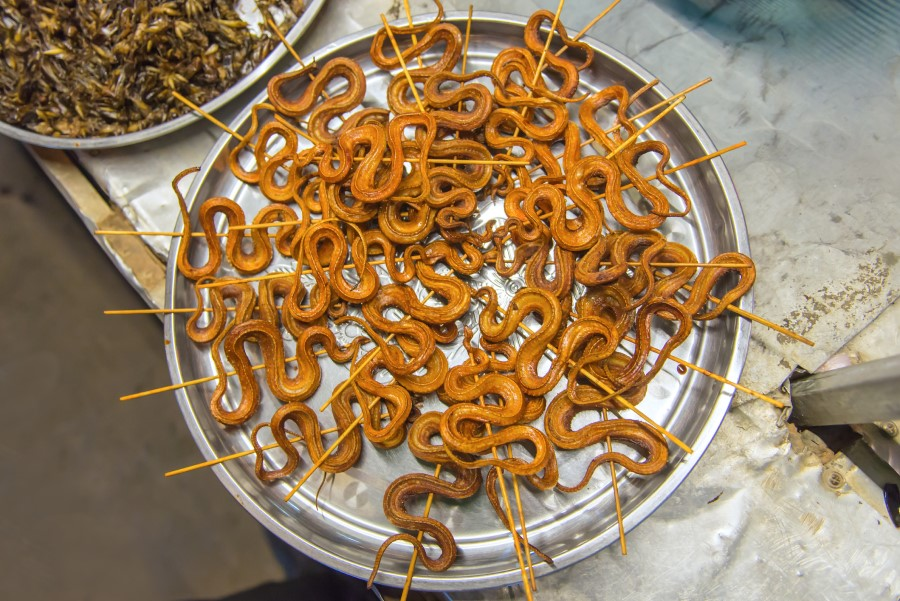 Grilled snakes at a street market in China. (iStock)