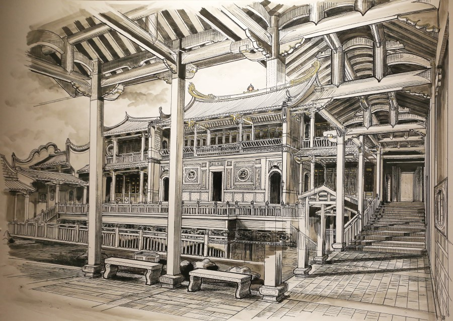 A sketch of the old Shuang Lin Monastery by well-known Taiwanese historian Lee Chian-Lang. (SPH)
