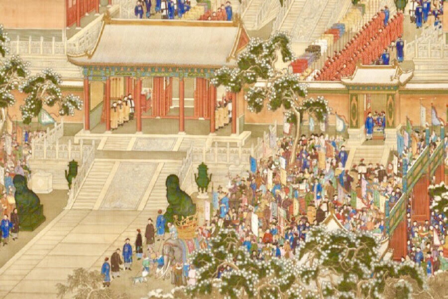 Qing Dynasty, All Nations Come to Pay Tribute (《万国来朝图》), partial, The Palace Museum. (Internet)