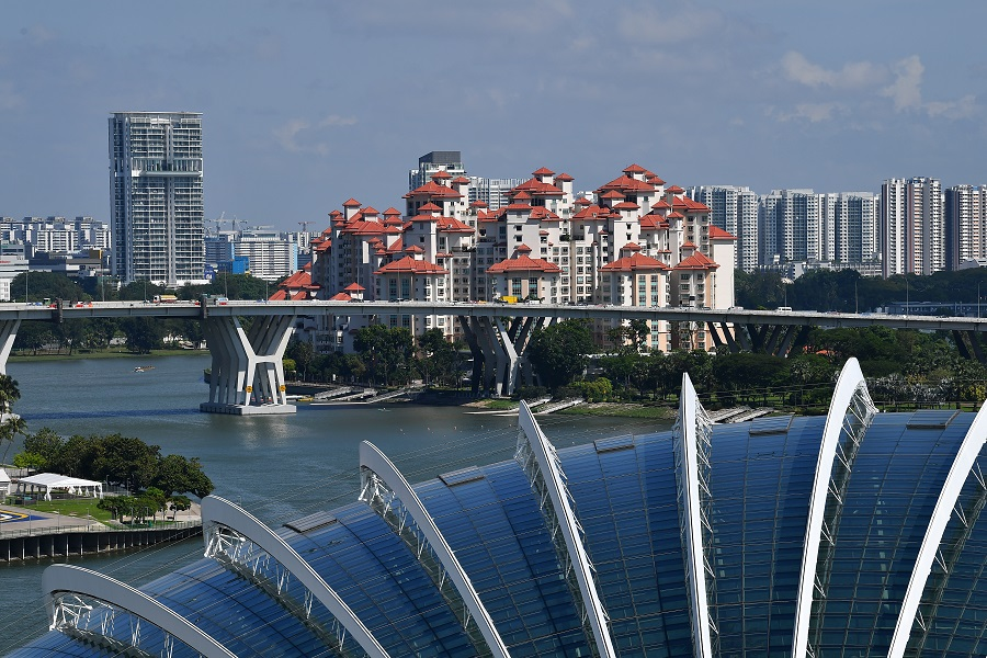 Singapore skyline taken from the Supertree Observatory at Gardens by the Bay showing the Costa Rhu Condominium. (SPH)