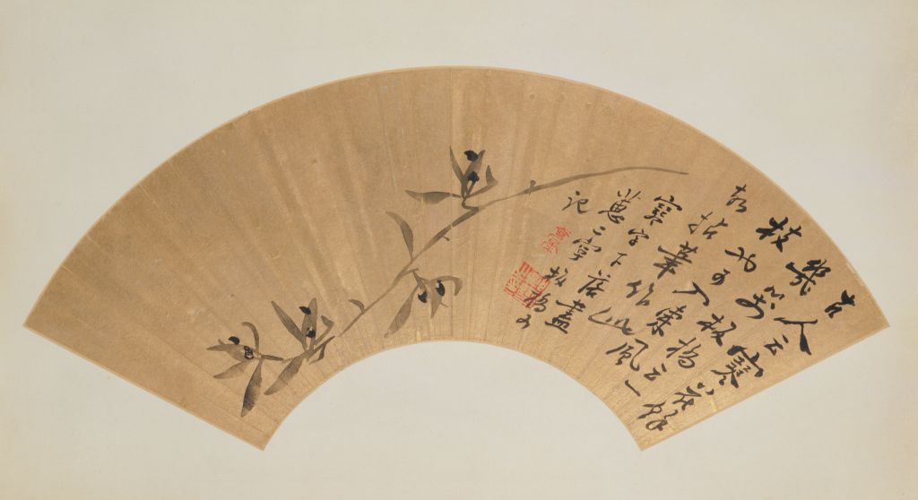 Zheng Banqiao, Orchids in Ink on Fan (墨兰图扇页), The Palace Museum. (Internet)