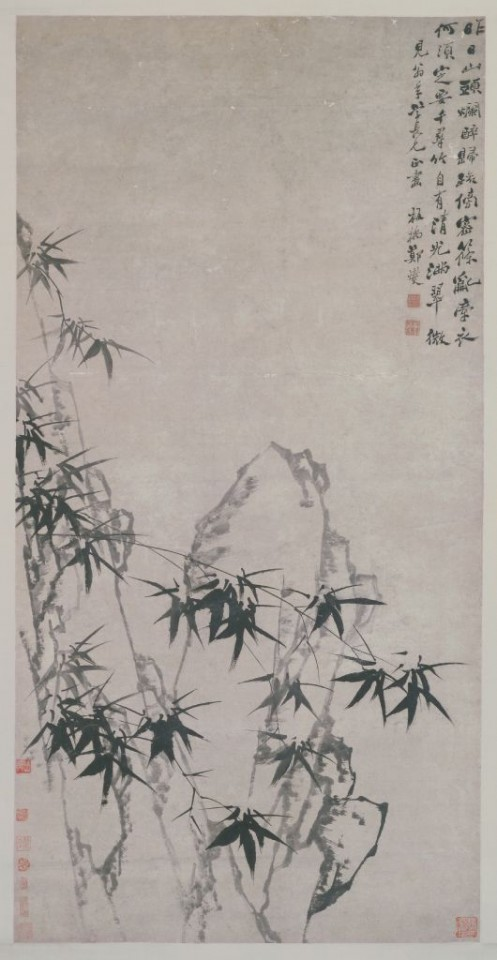 Zheng Banqiao, XXX (墨笔竹石图轴), The Palace Museum. (Internet)