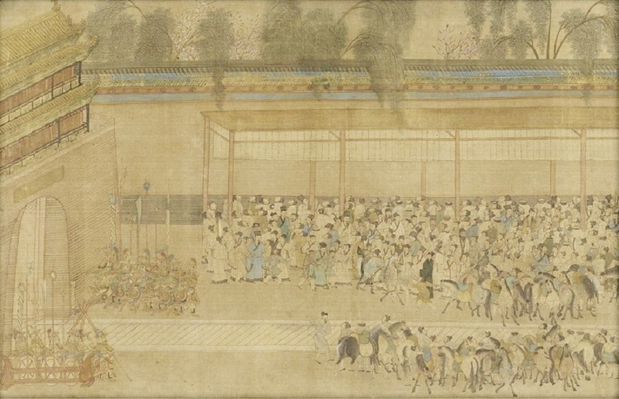 Chou Ying, Viewing Results (《观榜图》), partial, National Palace Museum. (Internet)