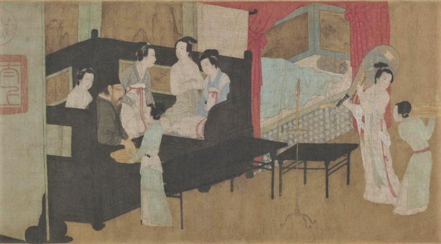 Gu Hongzhong, Night Revels of Han Xizai (《韩熙载夜宴图》), partial, The Palace Museum. (Internet)