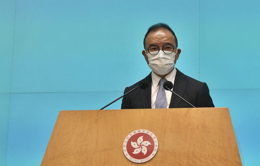 Director of Immigration Erick Tsang Kwok-wai would succeed Patrick Nip Tak-kuen as Secretary for Constitutional and Mainland Affairs. He is seen speaking at a press conference in this photo taken on 22 April 2020. (HKCNA/CNS)