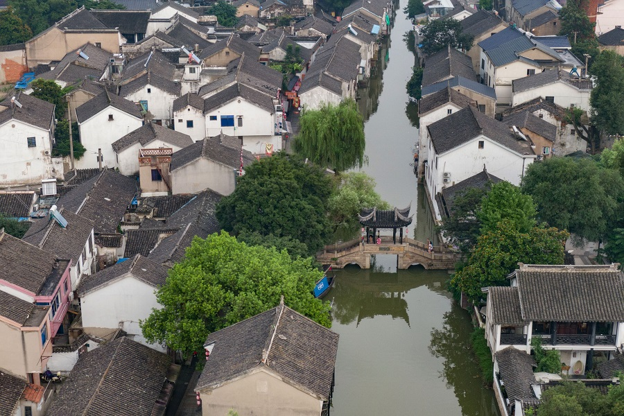 An aerial view of Suzhou's Mudu town, 24 July 2020. (CNS)