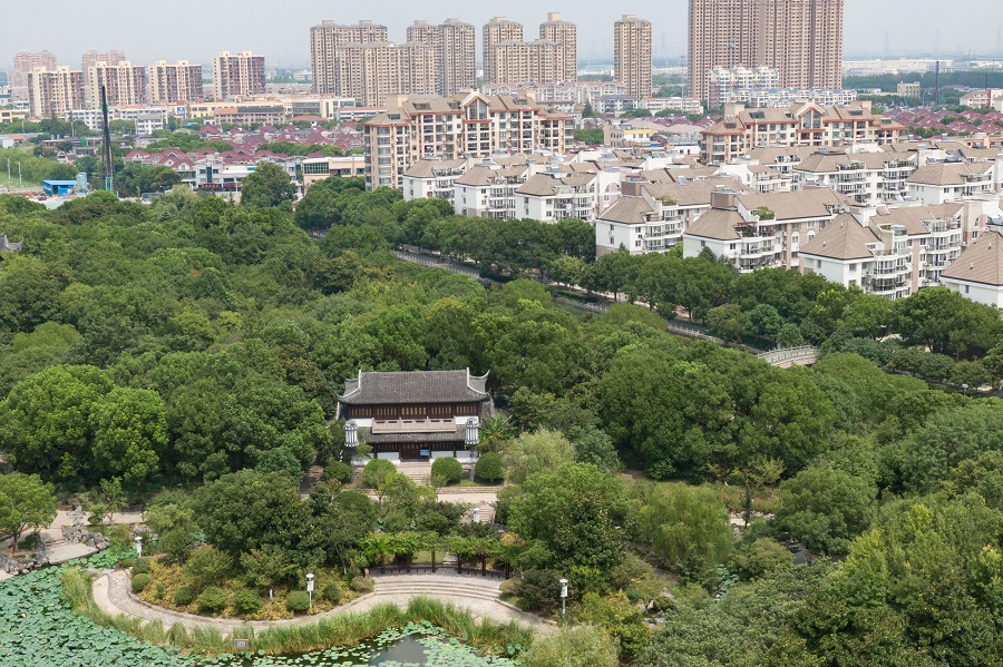 An aerial view of Huaxi Park in Suzhou, Jiangsu, China, depicting beautiful classical landscape features, 22 August 2020. (CNS)