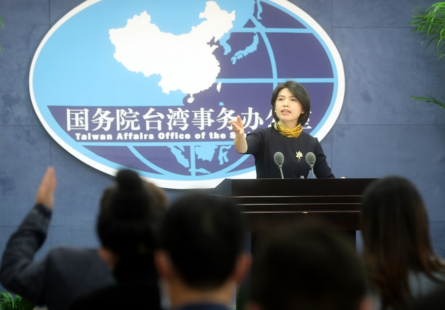 Taiwan Affairs Office spokesperson Zhu Fenglian at the office's press briefing on 16 December 2020. (CNS)