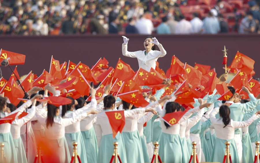 A choir performs at a ceremony marking the 100th founding anniversary of the Chinese Communist Party at Tiananmen Square, Beijing, China, 1 July 2021. (CNS)