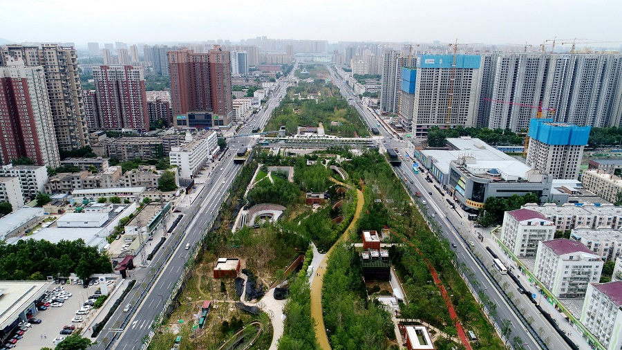 An aerial shot of the Xi'an Happiness Forest Belt, Shaanxi province, China, 5 July 2021. (CNS)