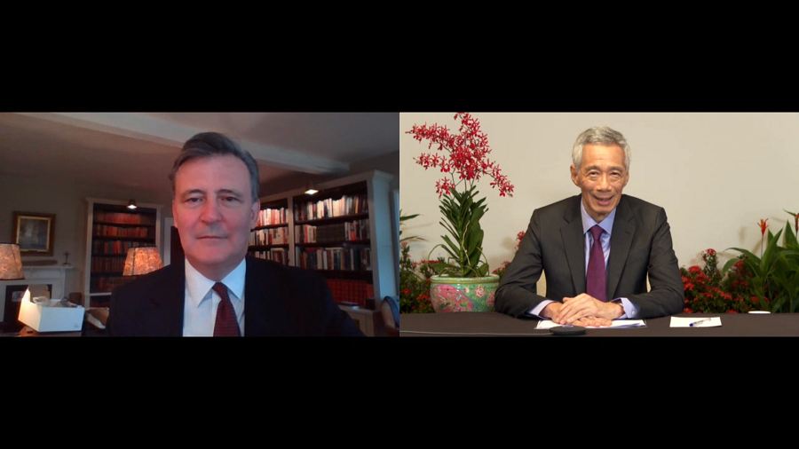 Singapore Prime Minister Lee Hsien Loong with John Micklethwait at the Bloomberg 2020 New Economy Forum. (Ministry of Communications and Information)