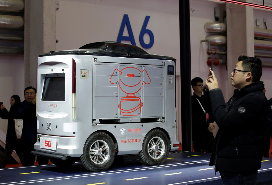 JD.com's self-driving delivery vehicle showcased at the World 5G Exhibition in Beijing in November 2019 (Jason Lee/Reuters)