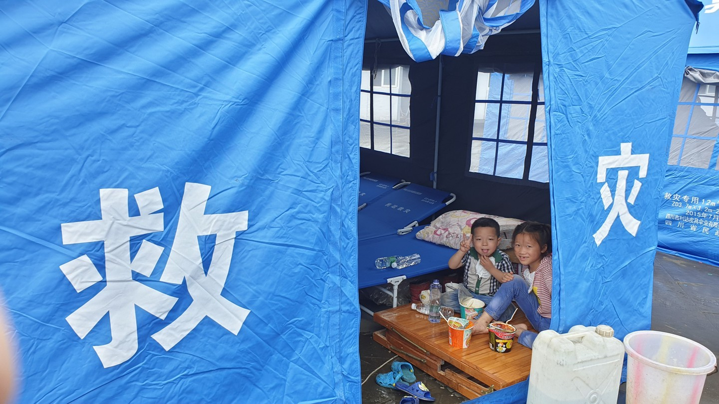 Disaster relief tents were set up at Sichuan after an earthquake hit the province. (SPH)