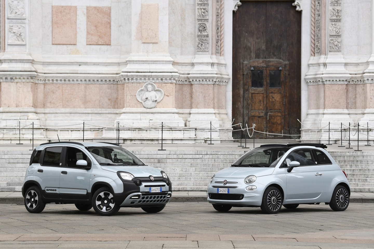 New Fiat Panda and Fiat 500 mild-hybrid cars are seen in piazza Maggiore, in Bologna, Italy, on 4 February 2020. Fiat Chrysler had met with serious problems when importing auto parts from China. (Flavio Lo Scalzo/Reuters)