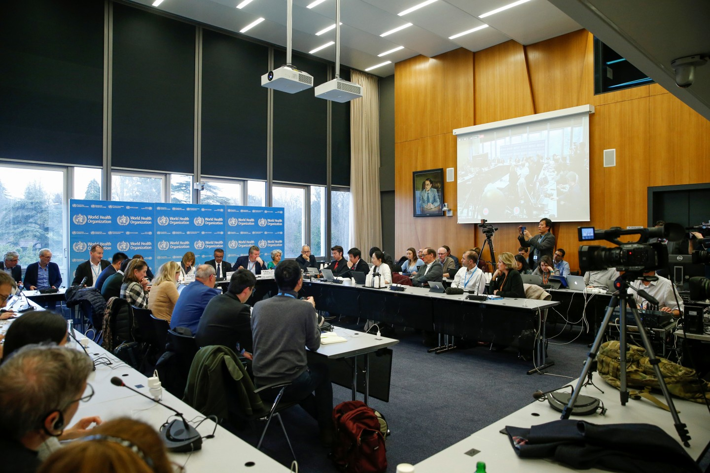 A general view of the World Health Organisation (WHO) news conference on the Covid-19 outbreak in Geneva, Switzerland, on 11 February 2020. Taiwan has not gained membership into the WHO due to China's objection. (Denis Balibouse/Reuters)