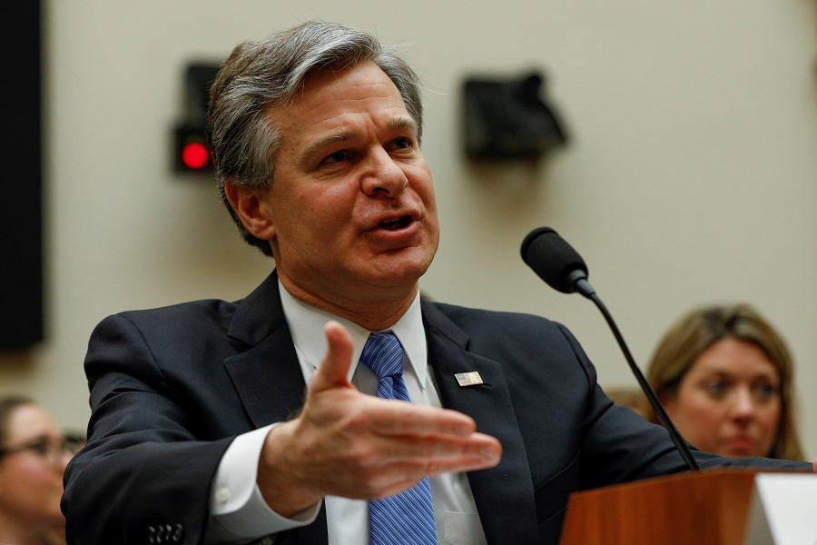 US FBI Director Christopher Wray testifies before the House Judiciary Committee on Capitol Hill in Washington, US, on 5 February 2020. (Tom Brenner/File Photo/Reuters)
