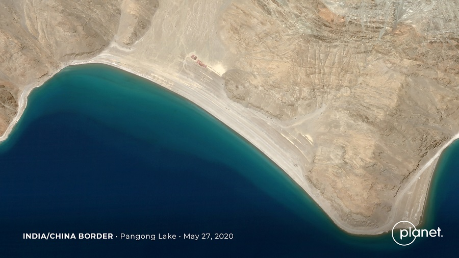 Build up at the Line of Actual Control on the disputed border between China and India is seen in this handout satellite image of Pangong Tso courtesy of Planet Labs taken on 27 May 2020. (Planet Labs/Handout via Reuters)