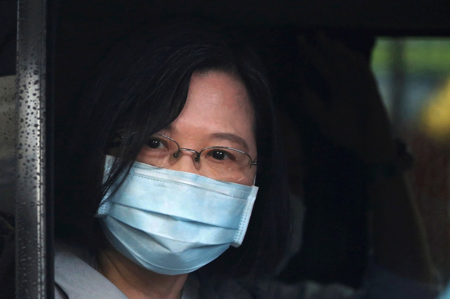 Taiwan President Tsai Ing-wen looks out from her car in Keelung, Taiwan, on 9 June 2020. (Ann Wang/Reuters)
