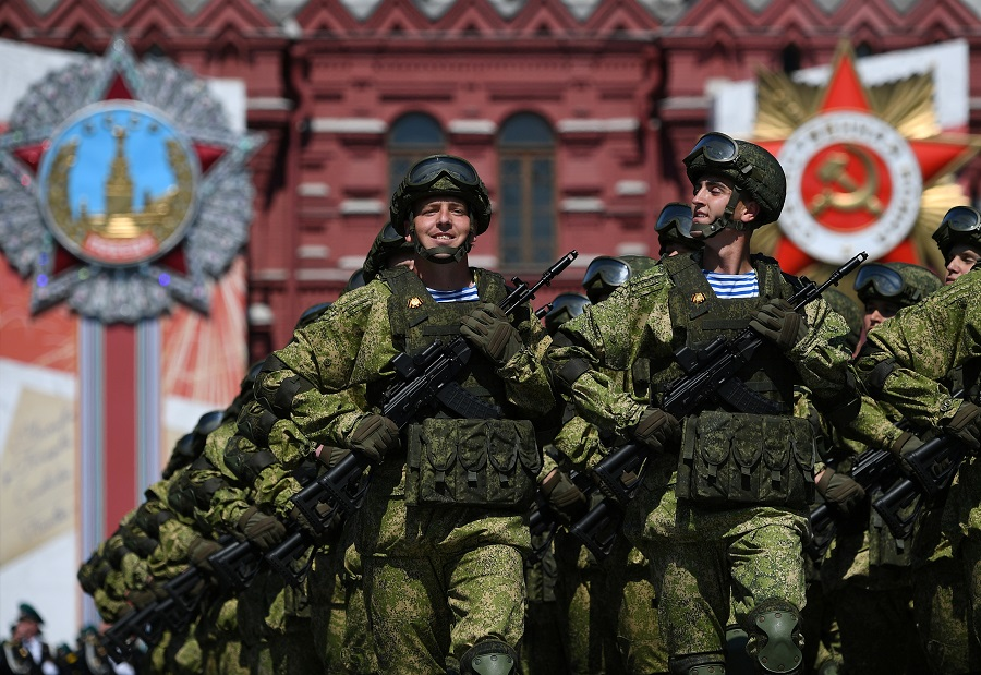 Russian servicemen march during the Victory Day Parade in Red Square in Moscow, Russia, on 24 June 2020. The military parade marks the 75th anniversary of the victory over Nazi Germany in World War II. (Host photo agency/Ramil Sitdikov via Reuters)