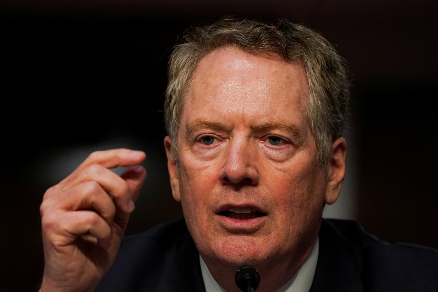US Trade Representative Robert Lighthizer speaks at a Senate Finance Committee hearing on President Donald Trump's 2020 Trade Policy Agenda on Capitol Hill in Washington, D.C., US, 17 June 2020. (Anna Moneymaker/Pool via Reuters/File Photo)