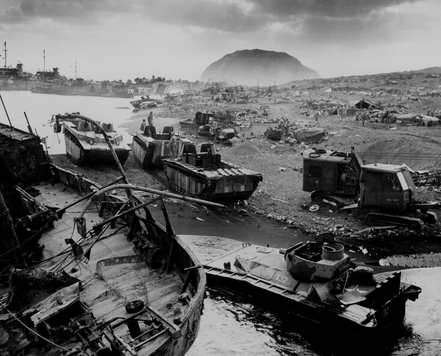 US vehicles knocked out by Japanese resistance on the black sands of Iwo Jima, March 1945. (US National Archives/Handout via Reuters/File Photo)